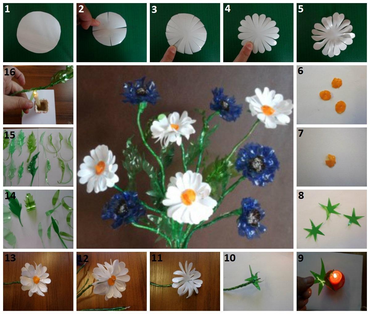 Как сделать цветы из пластиковой бутылки поэтапно