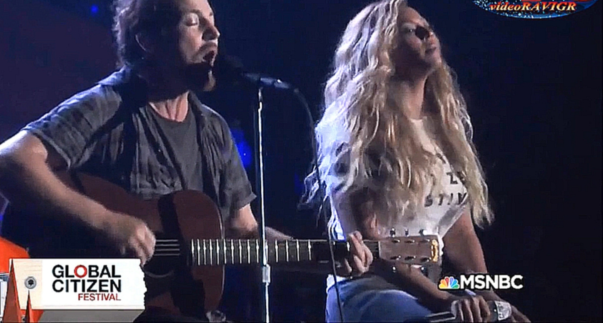 Видеоклип Beyoncé feat. Eddie Vedder - Redemption Song.  Global Citizen Festival, 26.09.15